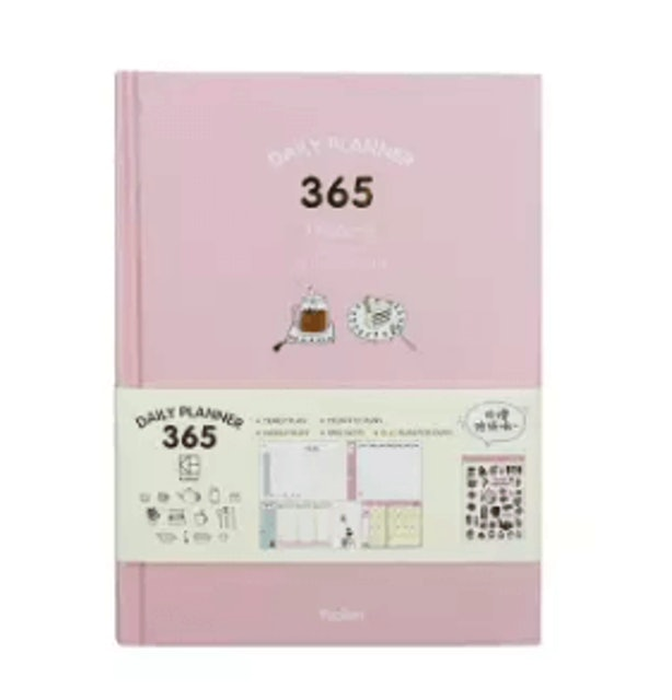 365 Daily Planner  Agenda Scheduler Planning Papers Diary Hard Cover (Pink) 1