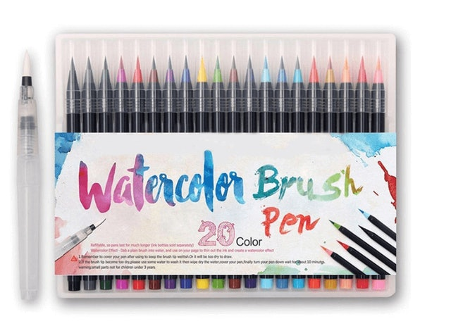 Ishowmall 20  Color Premium Painting Soft Watercolor Brush Pen Set Sketch Markers 1