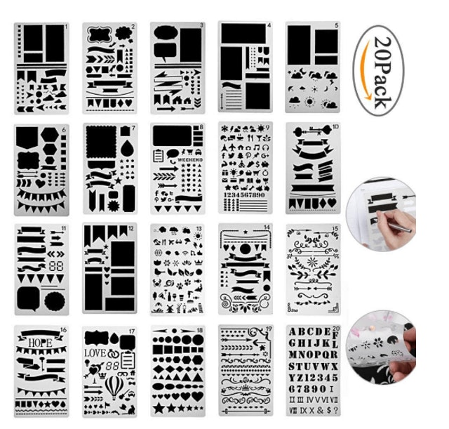 louis will sengshen 20 Pieces Bullet Journal Stencil Set Plastic Planner Stencils 1