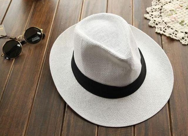 No Brand  หมวก Panama สีขาวหรือ Off-White ปีกแคบ 1