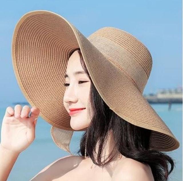 No Brand หมวก Panama สีขาวหรือ Off-White ปีกกว้าง 1