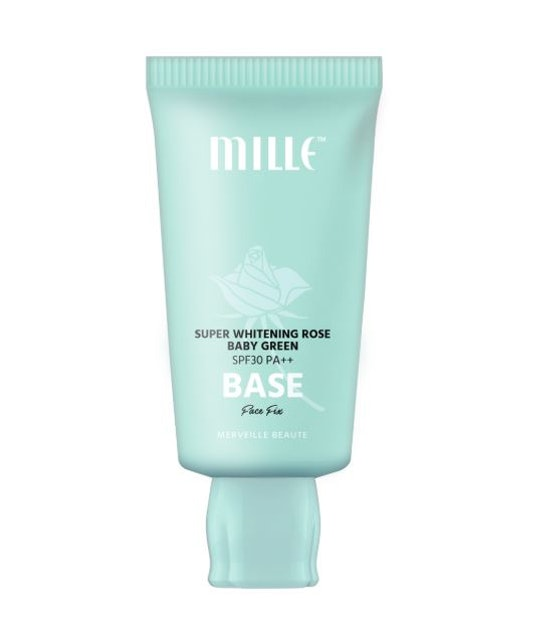Mille Mille Super Whitening Rose Green Base SPF30 PA++ Face Fix 1