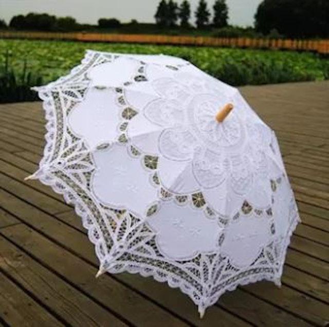 Qimiao ร่มผ้าลูกไม้สีขาว  1