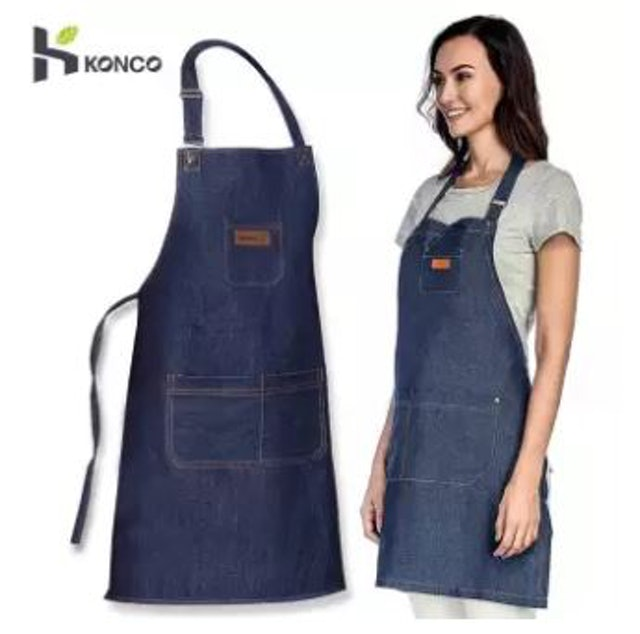 Konco ผ้ากันเปื้อนยีนส์ Chef Denim Cooking Apron 1