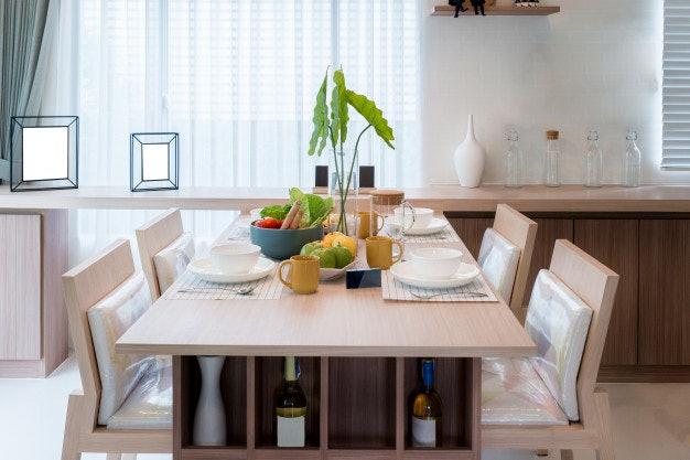 ตรวจสอบขนาดโต๊ะกินข้าวให้เหมาะกับการใช้สอย