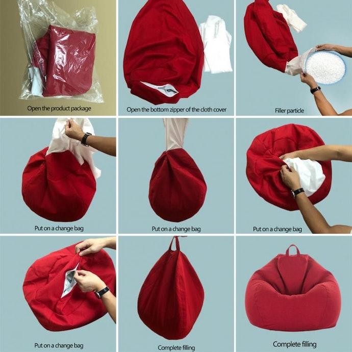 เลือกเก้าอี้ Bean Bag ที่ถอดปลอกออกได้ หรือสามารถเติมเม็ดโฟมได้