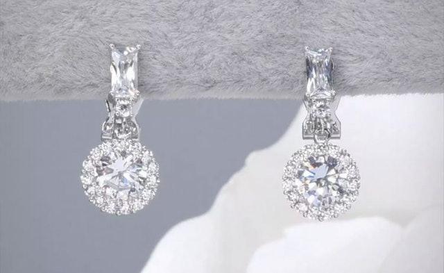 Value Jewelry ต่างหูหนีบประดับเพชร CZ ทรงกลม 1