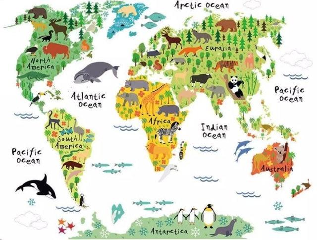 OEM แผนที่โลก สติกเกอร์แผนที่โลกลายสัตว์ 1