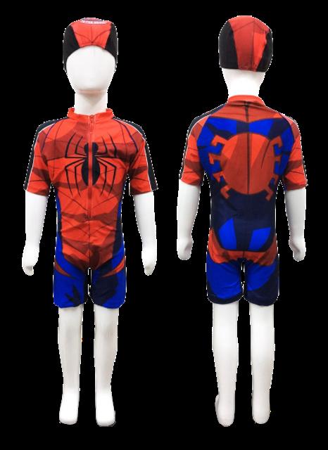 Blue Whalely ชุดว่ายน้ำแขนสั้นเด็กผู้ชาย ลาย Spiderman 1
