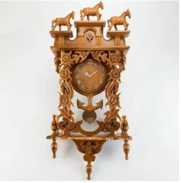 THAILUCKWOOD นาฬิกาไม้สักทองแกะสลัก 1