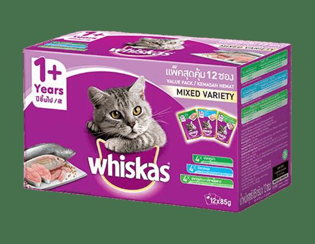 Whiskas อาหารแมวชนิดเปียก แบบเพาช์ มัลติแพ็ค สำหรับแมวอายุ 1 ปีขึ้นไป 1