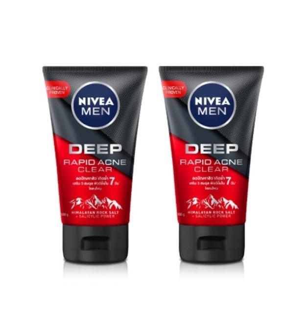 NIVEA MEN โฟมล้างหน้าผู้ชายลดสิว Deep Rapid Acne Mud Foam (2 ชิ้น) 1