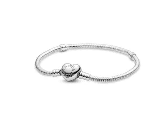 PANDORA กำไล PANDORA Silver Moments Silver Bracelet with Heart Clasp 1