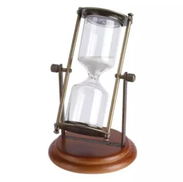 No Brand นาฬิกาทรายโลหะหมุนได้ ตกแต่งห้อง จับเวลา 15 นาที 1