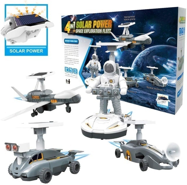 Cute Sunlight Solar Robots Kit Toy 4 in1 Robotic Set Space Fleet 1