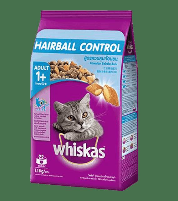 Whiskas อาหารแมวชนิดแห้ง พ็อกเกต สูตรควบคุมก้อนขน รสไก่และปลาทูน่า 1
