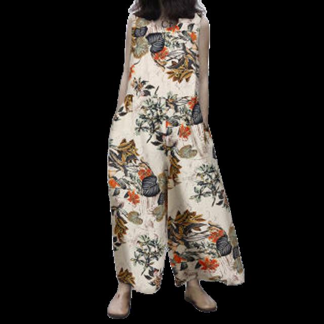 ZANZEA จั๊มสูทขายาว รุ่น Womens Sleeveless Floral Jumpsuit Playsuit Romper Wide Leg Overalls Plus Size 1