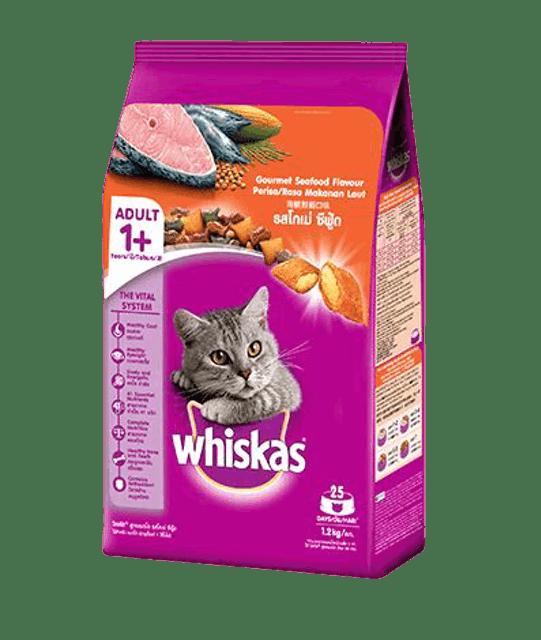 Whiskas อาหารแมวชนิดแห้ง แบบเม็ด พ็อกเกต สูตรแมวโต รสโกเม่ซีฟู้ด 1