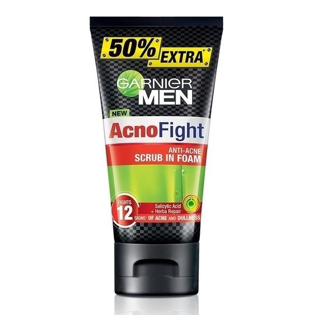 GARNIER Men  โฟมล้างหน้าผู้ชาย Acno Fight 12-in-1 Anti-Acne Scrub in Foam 1