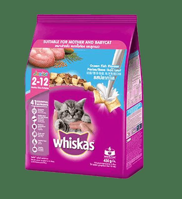 Whiskas อาหารแมวชนิดแห้ง แบบเม็ด พ็อกเกต สูตรลูกแมว รสปลาทะเลและนม 1
