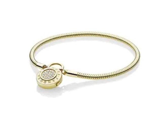 PANDORA กำไล PANDORA Gold Pandora Moments Pavé Padlock Clasp Snake Chain Bracelet 1