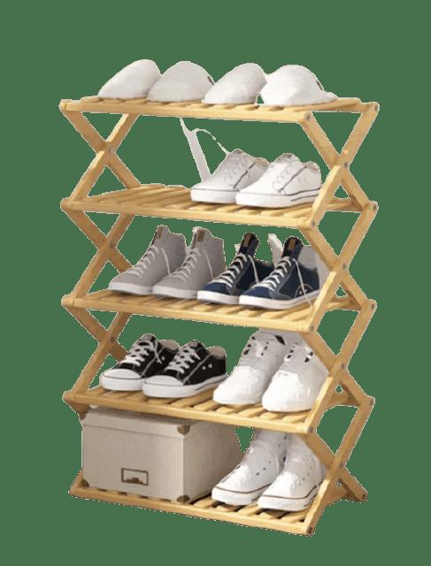 OZOOPU ชั้นวางรองเท้าทำจากไม้ไผ่แท้ ขนาด 5 ชั้น 1