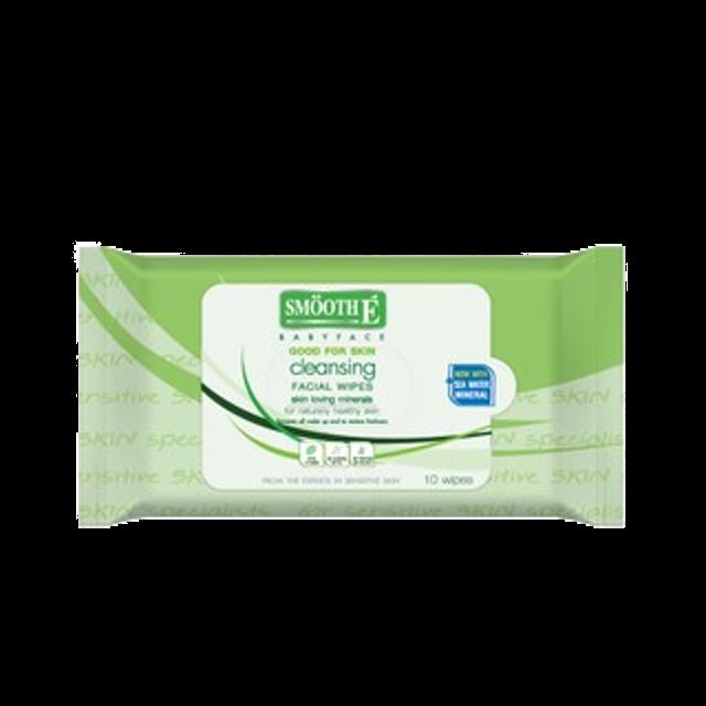แผ่นเช็ดเครื่องสำอาง SMOOTH E แผ่นเช็ดเครื่องสำอาง Cleansing Facial Wipes  1