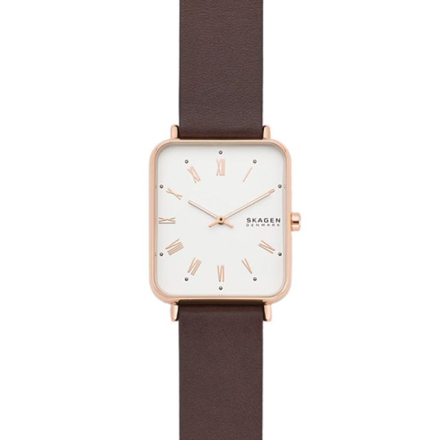 SKAGEN Ryle Two-Hand Brown Leather Watch 1