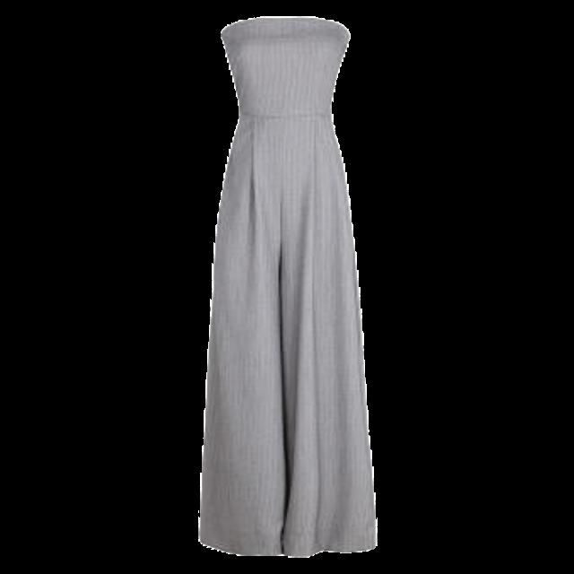 HOLIDAY QUEEN จั๊มสูทขายาว Women Clothing Jumpsuits Off Shoulder Wide Leg High Waist Elegant Stripe Pant  1