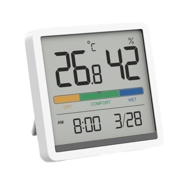 Miiiw เครื่องวัดอุณหภูมิและความชื้น รูปแบบนาฬิกาหน้าจอ LCD 1