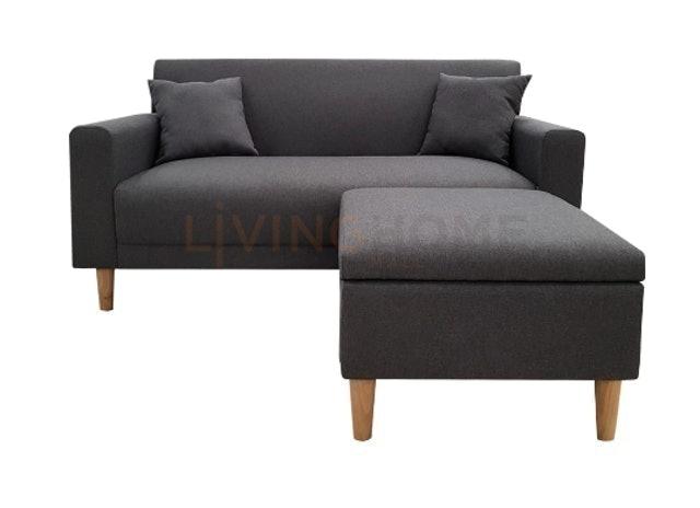 Livinghome โซฟา 2 ที่นั่ง+เก้าอี้สตูลเก็บของได้ รุ่น SNOW 1