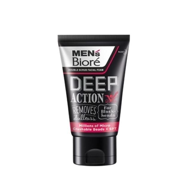 Men's Biore โฟมล้างหน้าผู้ชายลดสิว Double Scrub Deep Action 1