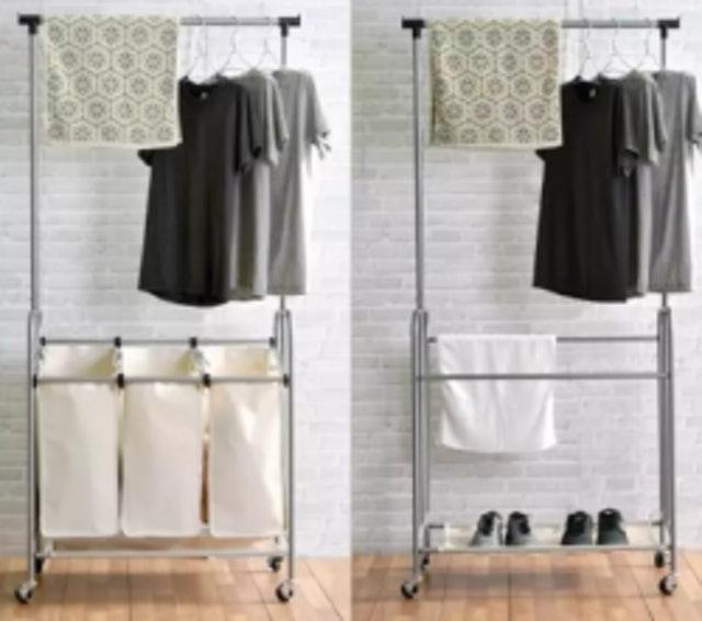SHOP SMART ราวแขวนผ้าพร้อมตะกร้าผ้า Two-Step 1