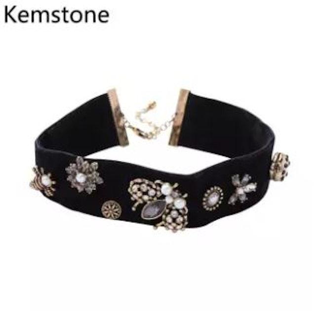 4. Kemstone – Black Velvet Choker with Vintage Flower & Butterfly Pendants 1