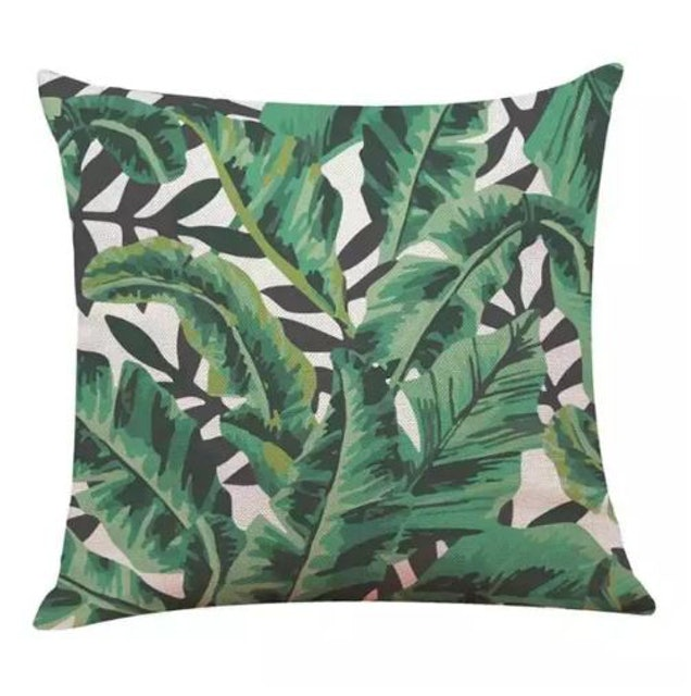 10. No brand – Tropical Plants Leaves Pillow Covers 1