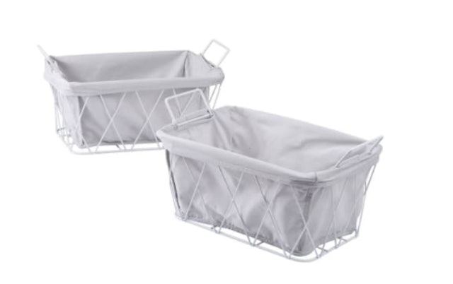 10. Anko – Square Wire Basket With Gray Fabric 1